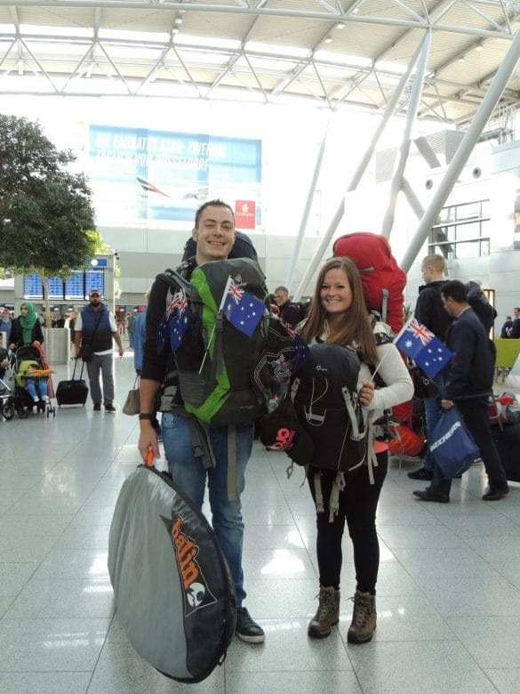 Bram & ManonPacked with backpacks and surfboard