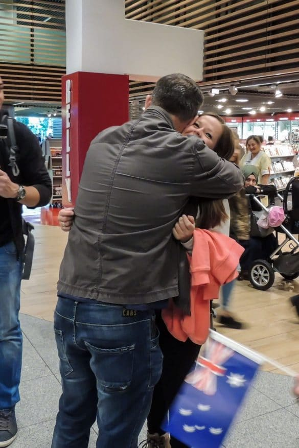 Manon gets goodbye hug from her dad