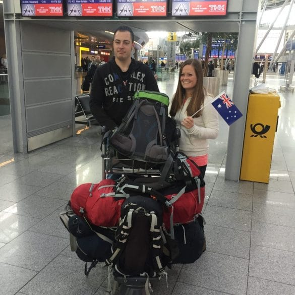 Us with luggage trolley