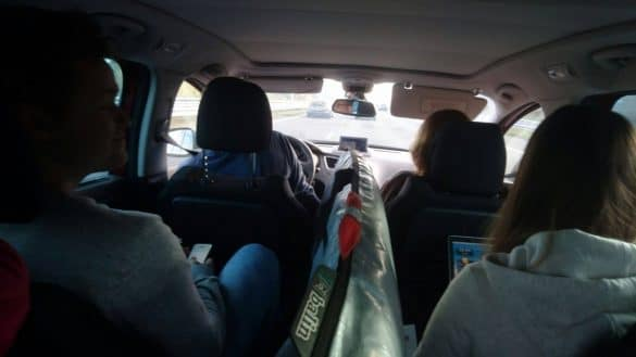 In the car with surfboard