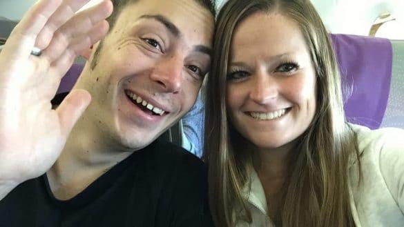 Close up selfie in plane
