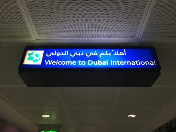 Welcome to Dubai International airport sign