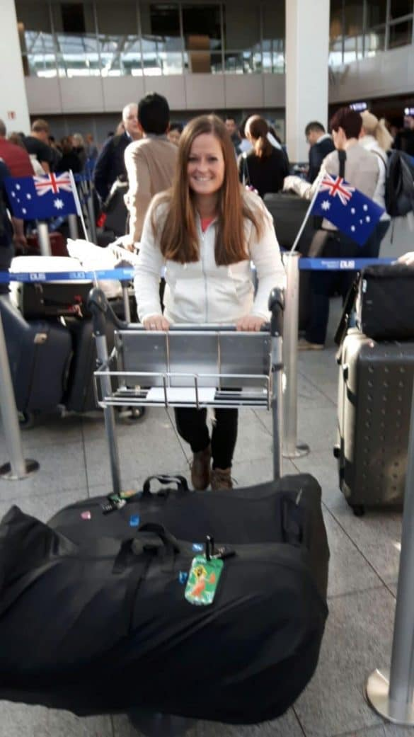 Manon with lugguge trolley at Dubai Airport