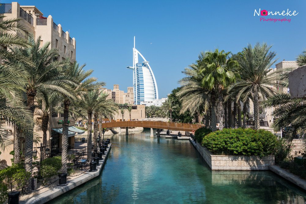 The view over Madinat Jumeirah with the Burj Al Arab in the back