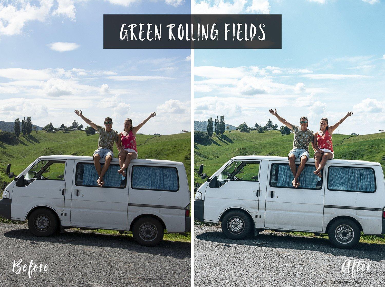 Green Rolling Fields | Flip Flop Wanderers Presets