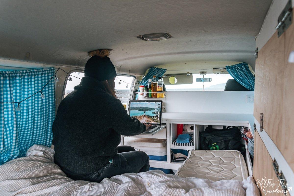 Manon working in campervan in New Zealand